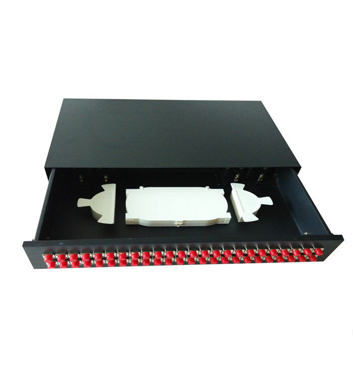 this 19 FC Fiber Optic Rack Mount Distribution Box can be work with 24 48 FC fiber adapters